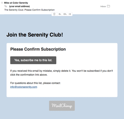 Color Serenity confirmation email image